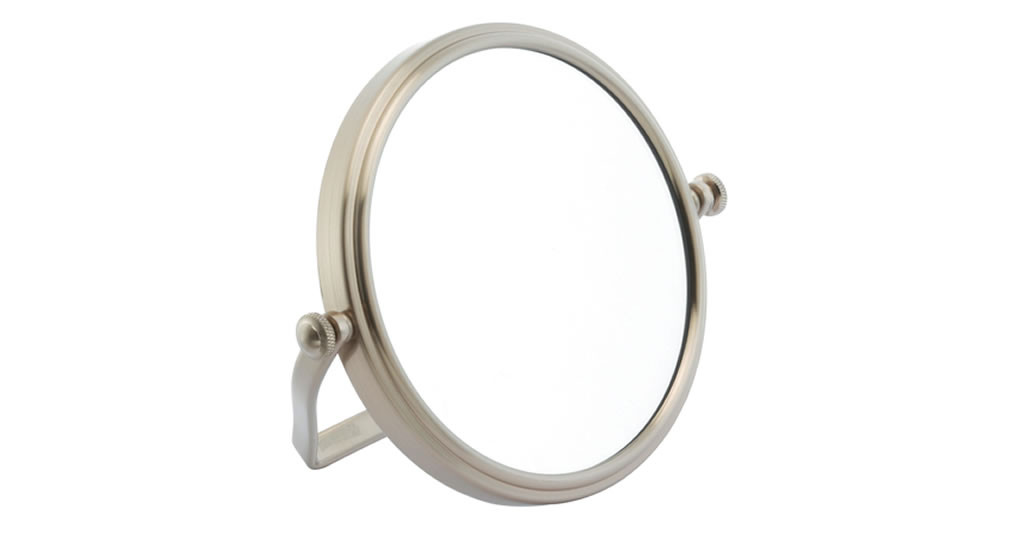 Miroir grossissant x5 pliable double face finition nickel brossé