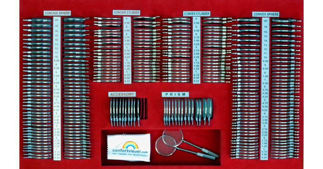 Boite d'essai 266 verres cerclage metal