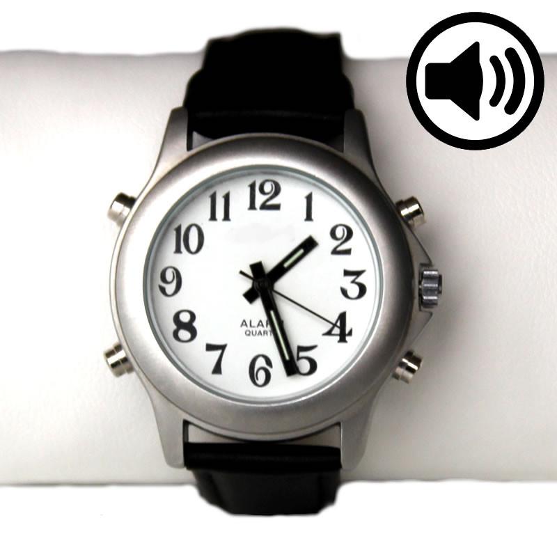 Montre parlante à aiguilles date alarme