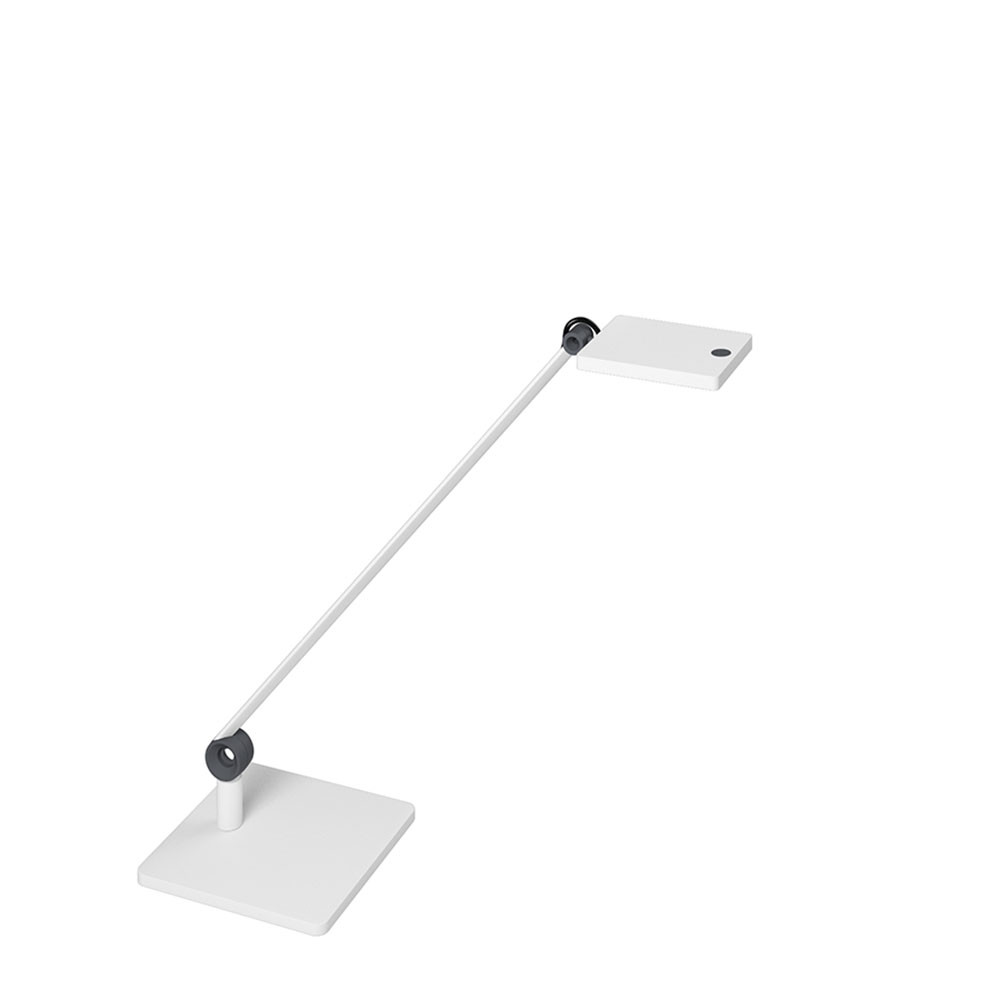 Lampe LED sur socle Waldmann PARA.MI simple bras blanc rectangulaire réglable