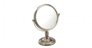 Miroir grossissant x5 sur pied double face finition nickel brossé