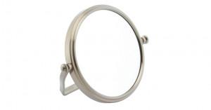 Miroir grossissant x5 pliable double face finition nickel brossé
