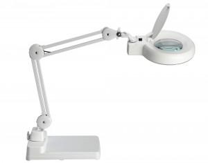 Lampe loupe ronde 12 cm blanche avec socle de table