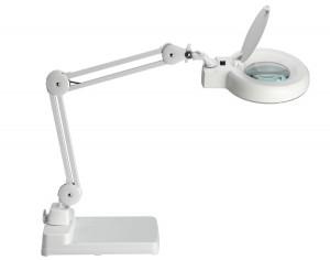 Lampe loupe LED ronde 12 cm blanche avec socle de table